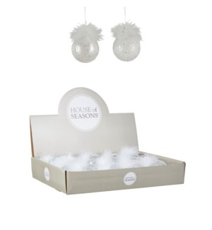 Bauble glass white 2 assorted display - 2.75""