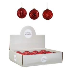 Bauble glass red 3 assorted display - 4""