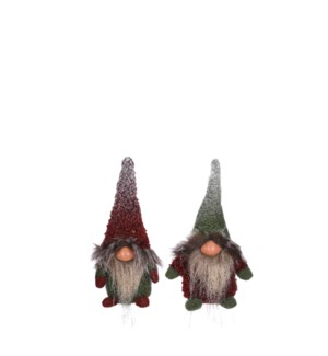 Doll gnome d. red green 2 assorted - 3.5x2.25x7""