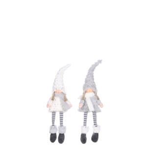 """Doll girl grey white 2 assorted - 0.75x2.75x19"""""""