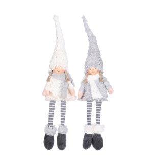 """Doll girl grey white 2 assorted - 1x3.25x23.75"""""""
