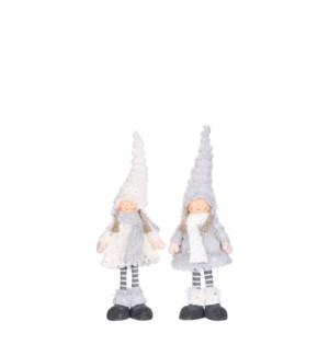 """Doll girl grey white 2 assorted - 0.75x2.25x15.75"""""""