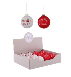 Ornament ball red white 2 assorted display - 3.25""