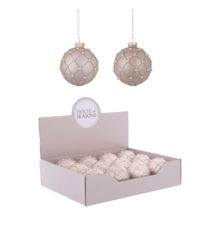 "Ornament ball cream 2 assorted display - 3.25"""