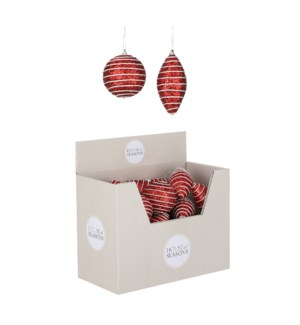 Ornament ball red 2 assorted display - 3.25""