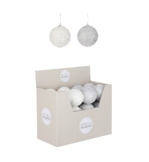 """Ornament ball silver white 2 assorted display - 3.25"""""""