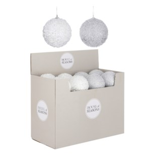 """Ornament ball silver white 2 assorted display - 4"""""""