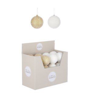 """Ornament ball gold white 2 assorted display - 3.25"""""""