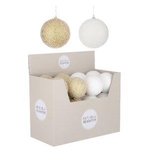 """Ornament ball gold white 2 assorted display - 4"""""""