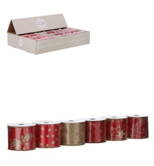 """Ribbon red 6 assorted display - 106.5x2.25"""""""