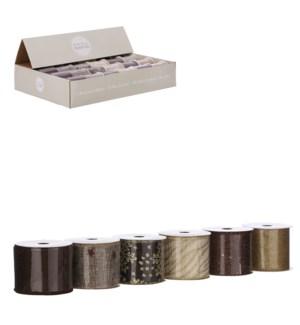 "Ribbon brown 6 assorted display - 106.5x2.25"""