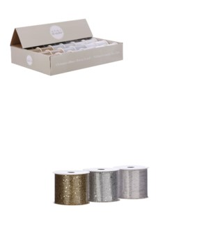 "Ribbon gold silver white 3 ass display - 106.5x2.25"""