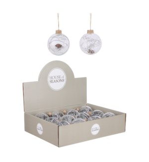 """Bauble glass pine cone transparent 2 assorted display - 3.25"""""""