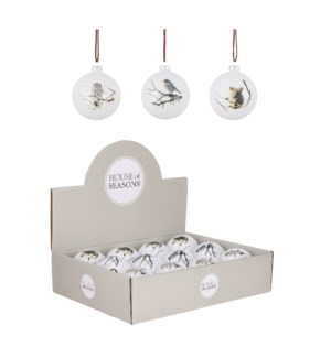 """Bauble glass animal white 3 assorted display - 3.25"""""""