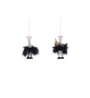 "Ornament zebra black 2 assorted - 2x1.5x4"""