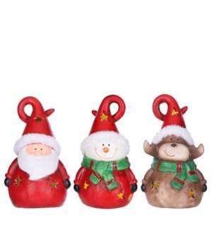 "Santa deer snowman red 3 assorted BO - 5x4.25x8.25"""