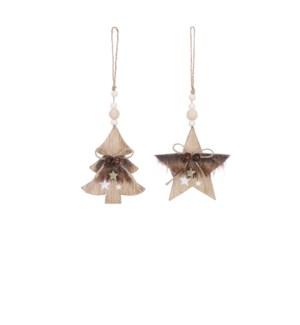 """Ornament star tree brown 2 assorted - 3.5x0.5x4.25"""""""