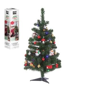 "Joy xmas tree led multicolour BO timer green 26 ornaments 30L TIPS 94   - 20x36"""