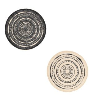 """Placemat round black 2 assorted - 15"""""""