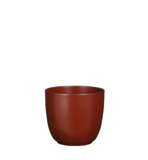 "Tusca pot round d. brown matt - 6.75x6.25"""