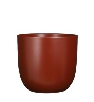 "Tusca pot round d. brown matt - 11x9.75"""