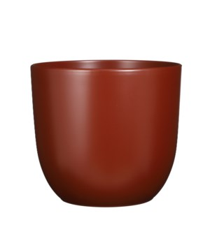 "Tusca pot round d. brown matt - 12.25x11.25"""