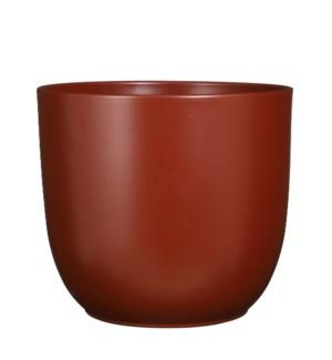 "Tusca pot round d. brown matt - 13.75x12.5"""