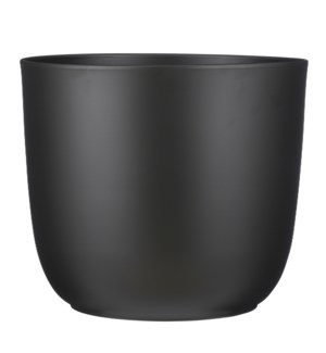 "Tusca pot round black matt - 15.25x13.5"""