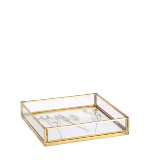 """Gloria tray gold - 6.25x6.25x1.25"""""""