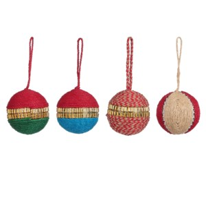 """Bauble unbreakable red green blue gold 4 assorted - 2.75x2.75"""""""