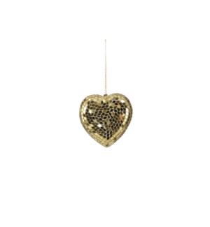 "Ornament heart champagne - 4x3.5x0.75"""