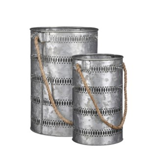 Lantern grey set of 2 - 9x8.25x12.25""