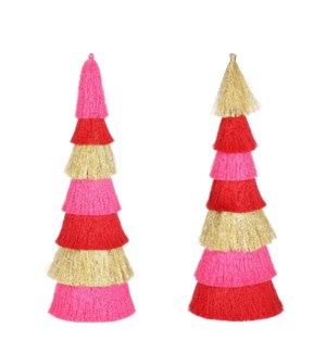 """Ornament cone red gold 2 assorted - 5x17.75"""""""