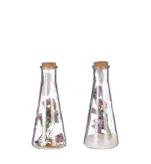 Jar flower purple 2 assorted battery operated - 3.25x8""