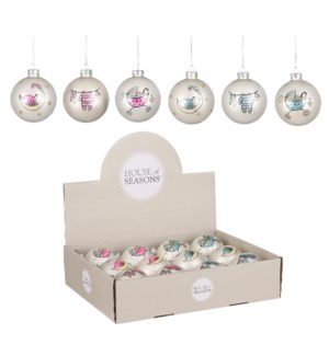 """Bauble glass baby silver 6 assorted display - 3.25"""""""