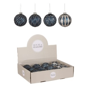"""Bauble glass black gold 4 assorted display - 3.25"""""""