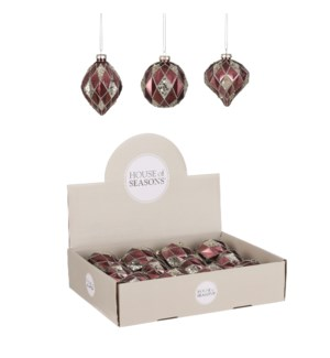 """Bauble glass red 3 assorted display - 3.25"""""""