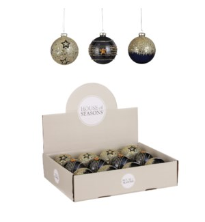 """Bauble glass star blue gold 3 assorted display - 3.25"""""""