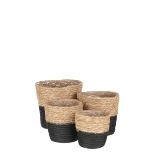 "Rachel basket round black set of 4 - 7x7"""