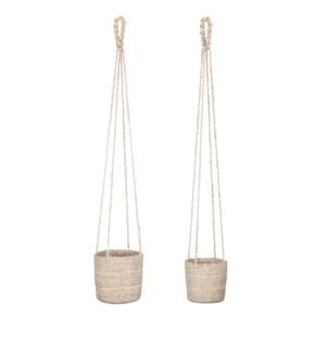 "Atlantic basket hanging cream set of 2 - 6.25x6.25"""