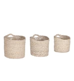 "Atlantic basket wallhanger cream set of 3 - 6.25x6.25"""