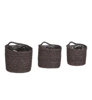"Atlantic basket wallhanger grey set of 3 - 6.25x6.25"""
