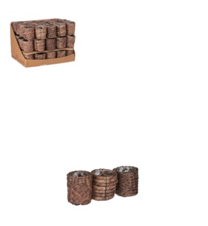 "Albury pot round brown 3 assorted display - 2.75x2.75"""