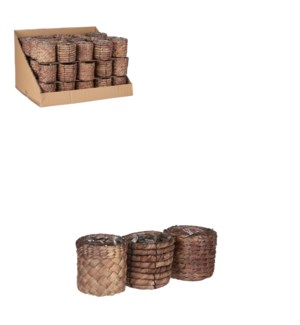 "Albury pot round brown 3 assorted display - 4x3.5"""