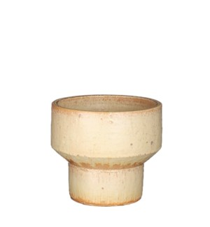 Pietra pot round l. yellow glaze - 7.5x6.5""
