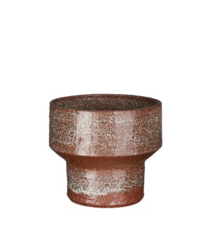 Pietra pot round brown glaze - 7.5x6.5""