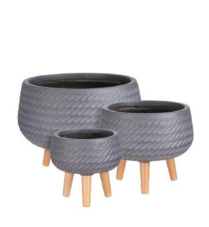 "Corda bowl on stand grey set of 3 - 16.5x12.5"""