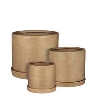 """Milan pot with saucer gold set of 4 - 12.5x10.25"""""""