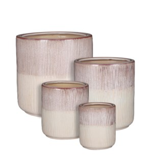 Lars pot round purple set of 4 - 11.5x11.5""