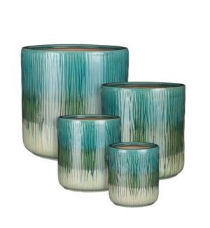 Lars pot round green set of 4 - 11.5x11.5""
